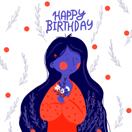 Flat girl long hair with flowers Happy Birthday greetings Illustration