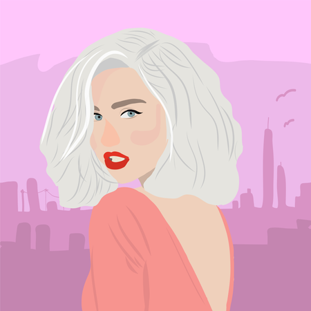 Flat girl with long hair with cityscapper background Illustration