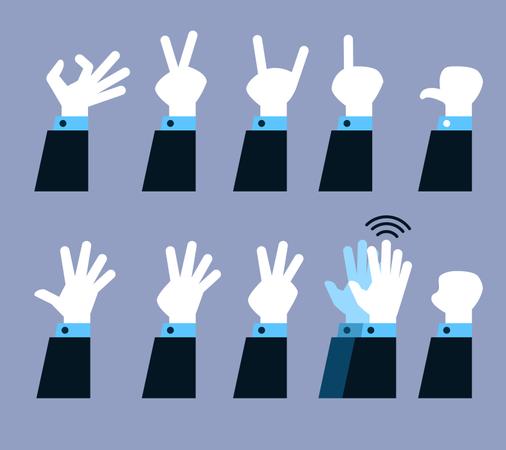 Flat Hand Gesture Set Illustration