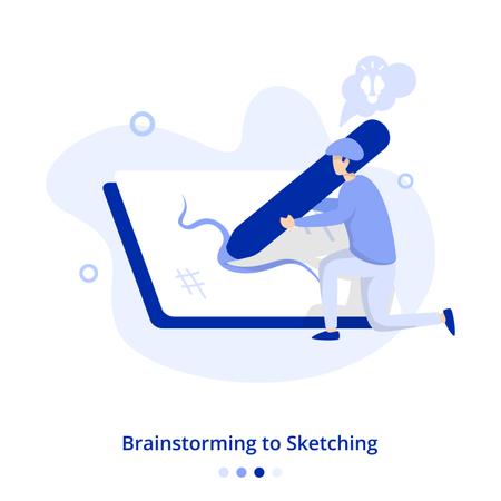Flat Illustration Brainstorming to Sketching Illustration