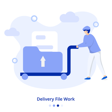 Flat Illustration Delivery File Work Illustration