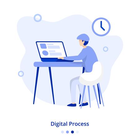 Flat Illustration Digital Process Illustration