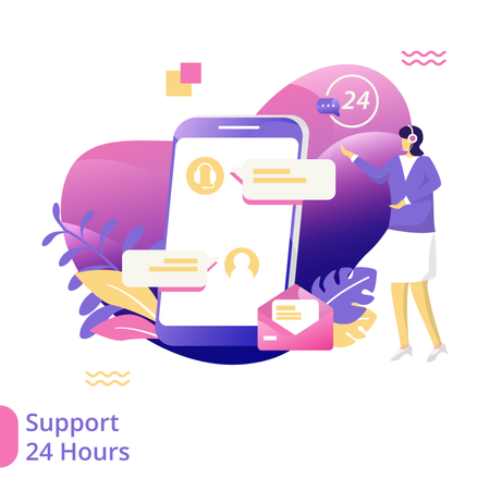 Flat Illustration of 24 Hours Support Illustration
