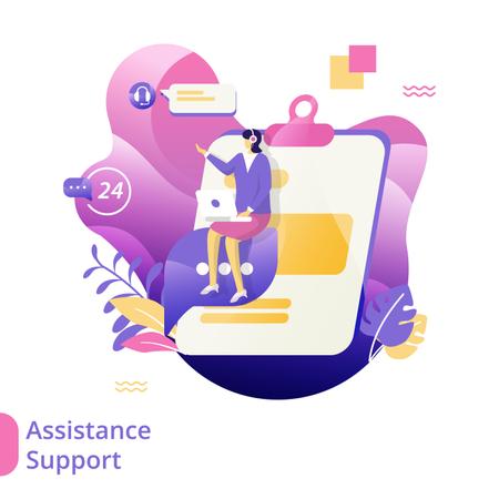 Flat Illustration of Assistance Support Illustration