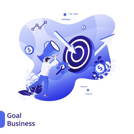 Flat Illustration of Business Goals Illustration