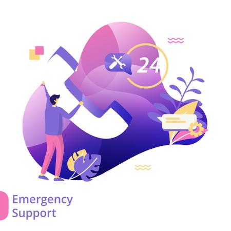 Flat Illustration of Emergency Support Illustration