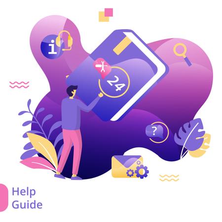 Flat Illustration of Guide book Illustration