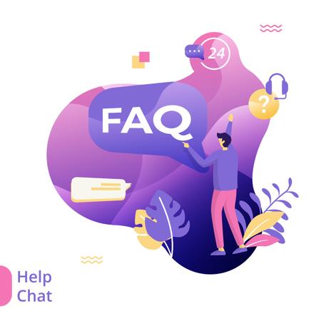 Flat Illustration of Help Chat Illustration