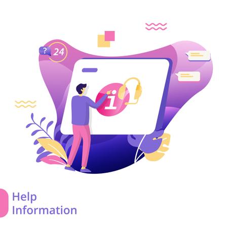 Flat Illustration of Help Information Illustration