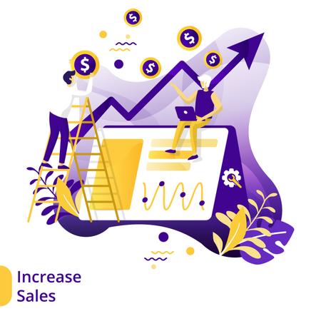 Flat Illustration of Increase Sales Illustration