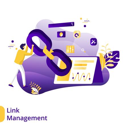 Flat Illustration of Link Management Illustration