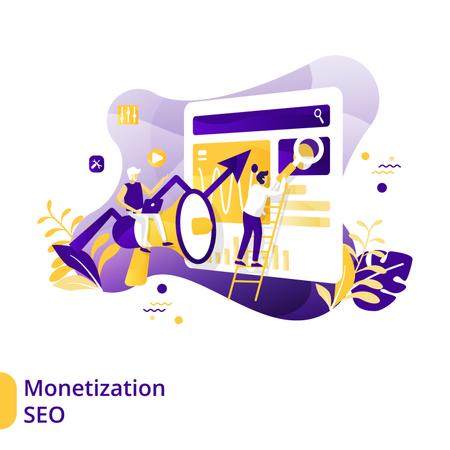 Flat Illustration of Monetization SEO Illustration
