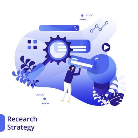 Flat Illustration of Research Strategy Illustration