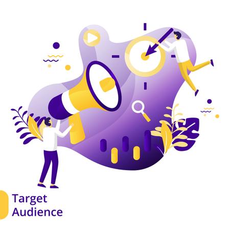 Flat Illustration of Target Audience Illustration