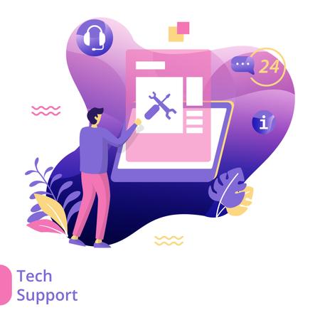 Flat Illustration of Tech Support Illustration
