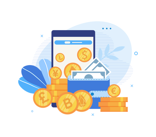 Flat Landing Page of Presenting Multi-currency Wallet Illustration
