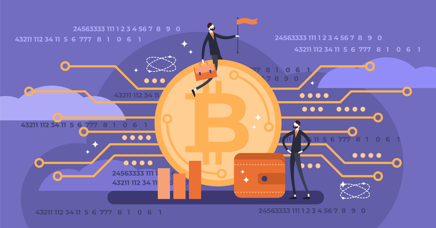 Flat mini persons with bitcoin Illustration