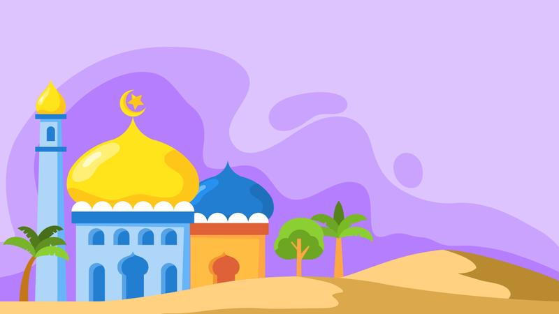 Flat Mosque Dome Landscape Background Illustration