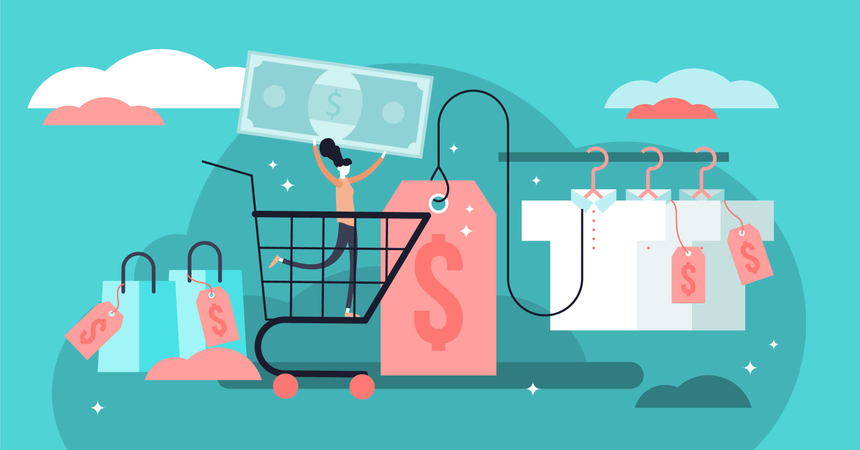 Flat tiny price tags and labels persons concept Illustration