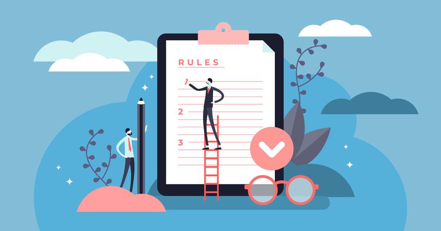 Flat tiny regulations checklist persons concept Illustration