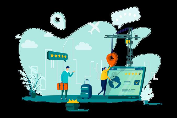 Flight booking service Illustration