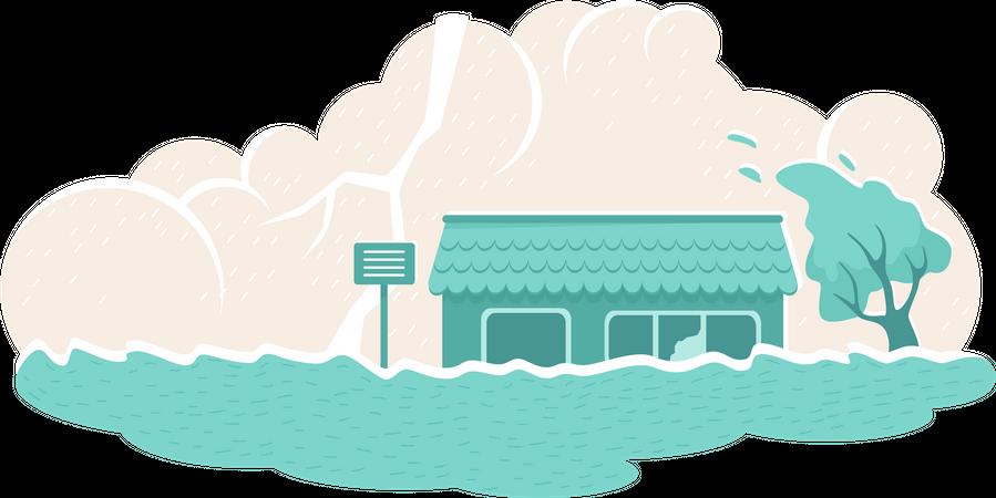 Flood natural disaster Illustration