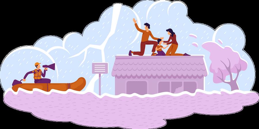 Flood rescue Illustration
