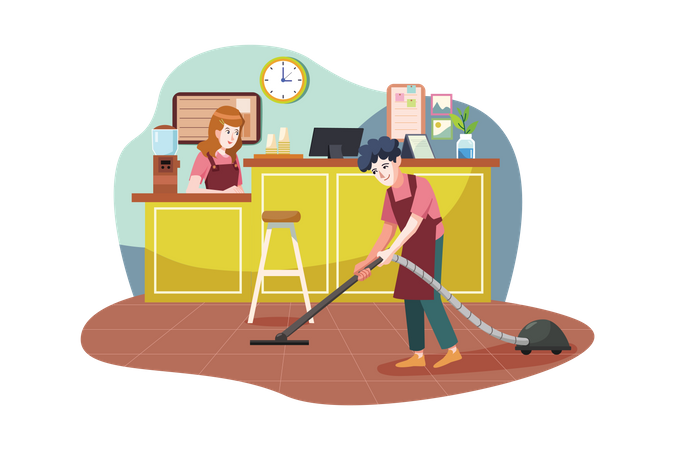 Floor cleaner working in a coffee shop Illustration