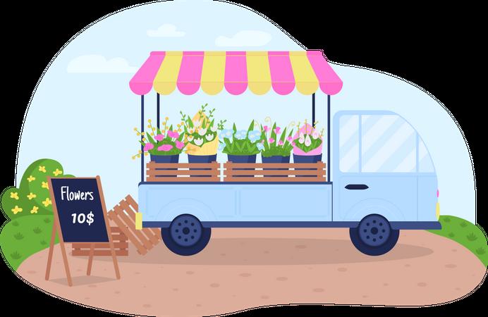 Floral cart Illustration