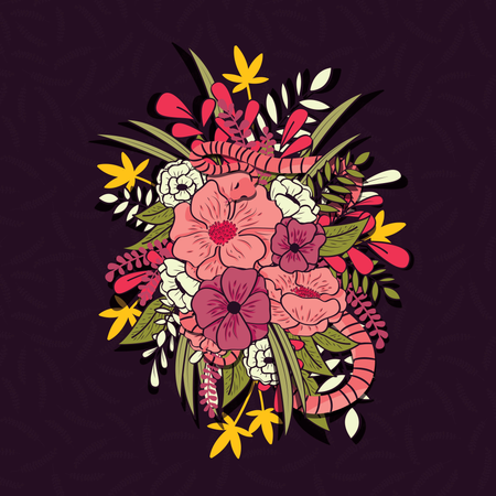 Floral jungle with snakes seamless pattern, tropical flowers and leaves, botanical hand drawn vibrant Illustration