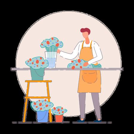 Florist in a flower shop Illustration