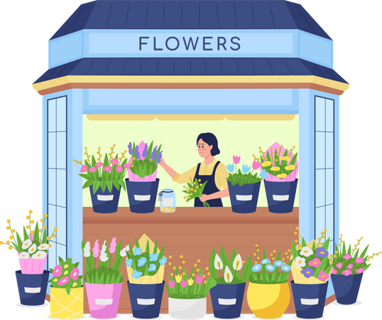 Florist in flower kiosk Illustration