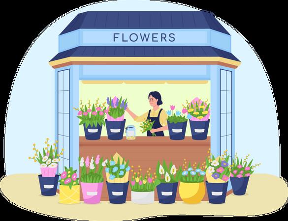 Florist kiosk Illustration