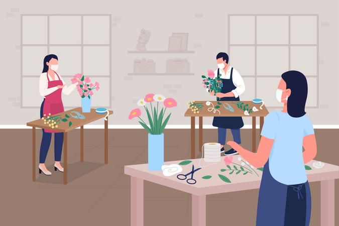 Floristry workshop during pandemic Illustration