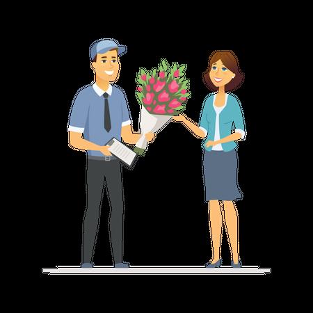 Flower delivery Illustration