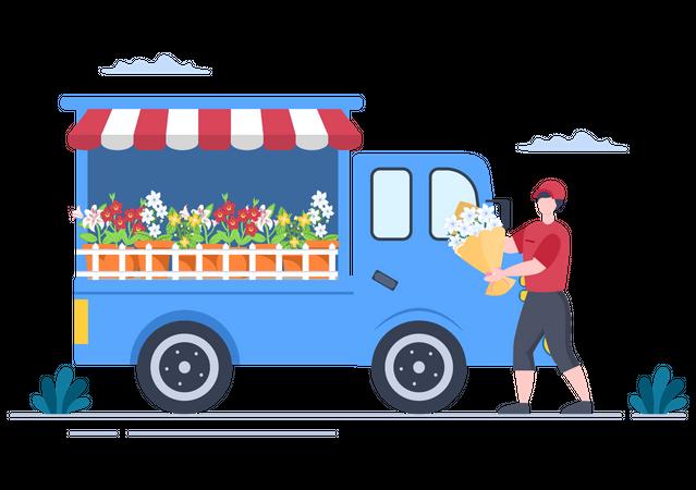 Flower Delivery Shop Illustration