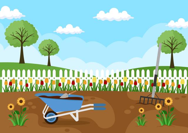 Flower farming Illustration