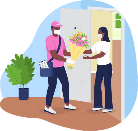 Flowers delivery during covid-19 Illustration