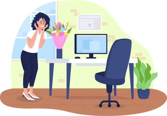 Flowers delivery to office Illustration