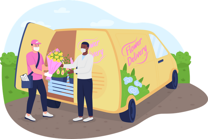 Flowers delivery truck during Illustration