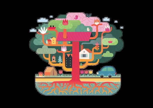 Flowers growing on tree trunk Illustration
