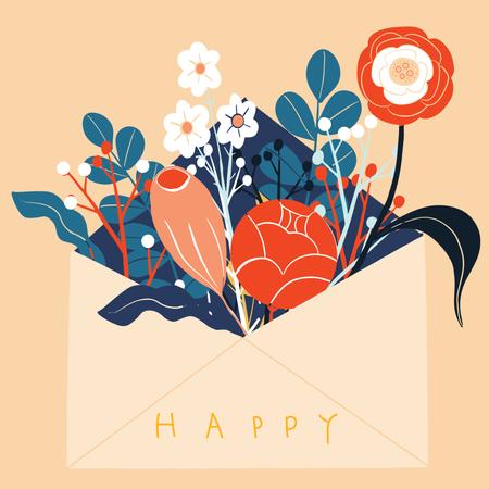 Flowers in envelope in Scandinavian style Illustration