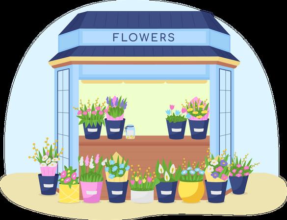 Flowers kiosk Illustration