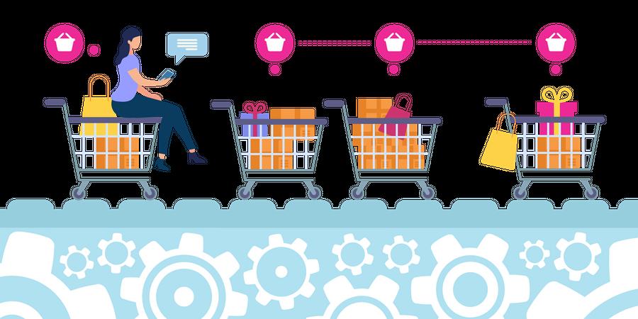 Flyer Selection Goods in Online Store Illustration