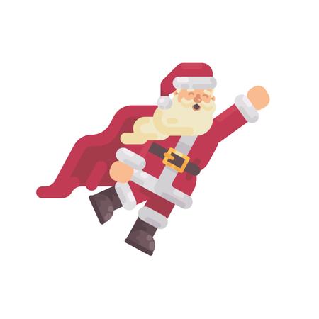Flying Santa Claus In A Superhero Cape Illustration