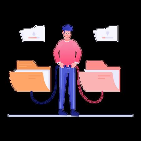 Folder data transfer Illustration