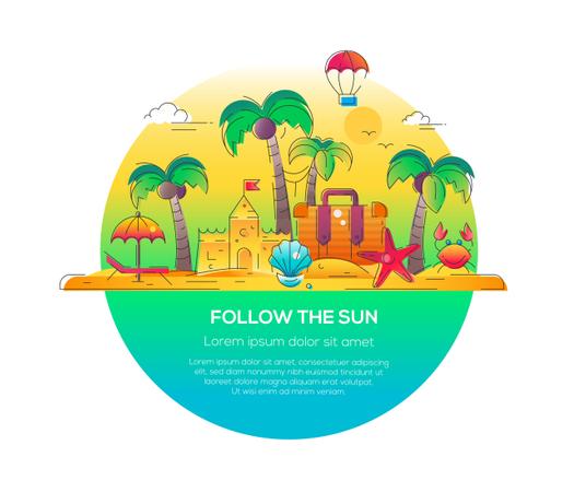 Follow The Sun - Vector Line Travel Illustration Illustration
