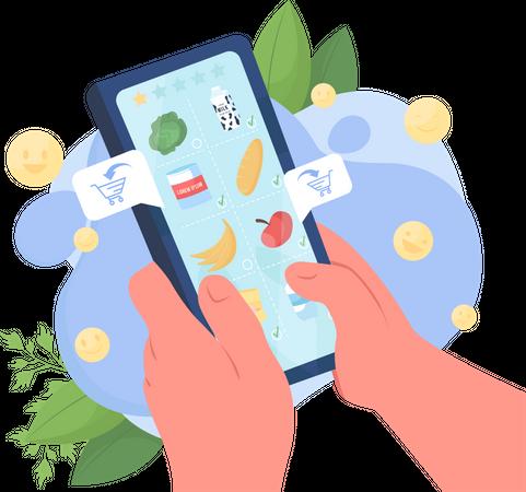 Food delivery application Illustration
