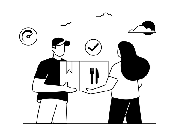 Food Delivery by Man Illustration