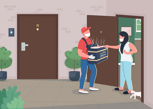 Food delivery during pandemic Illustration